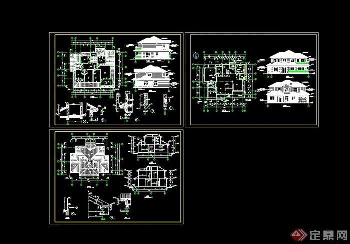 独栋砖混结构别墅设计cad施工图