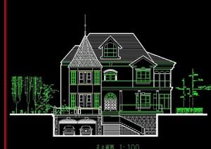 某欧式山庄别墅独栋设计cad方案