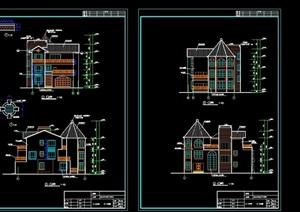 某欧式详细的三层住宅别墅cad施工图