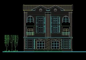院落式山地别墅设计cad方案