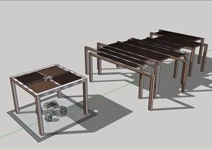 中式详细景观休闲廊架素材设计SU(草图大师)模型