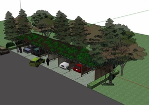园林景观详细的玻璃花架廊设计SU(草图大师)模型