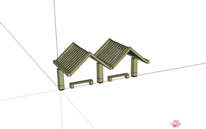 园林景观廊架及坐凳素材设计su模型