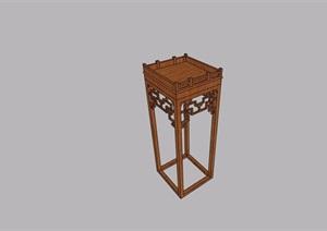 中式木质置物架素材设计SU(草图大师)模型