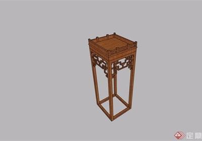 中式木质置物架素材设计su模型