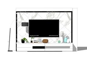 电视背景墙电视柜落地灯SU(草图大师)模型