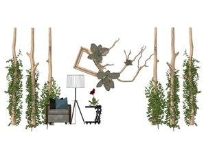现代休闲木柱藤条沙木头组合SU(草图大师)模型