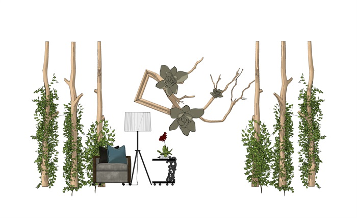 现代休闲木柱藤条沙木头组合1(2)