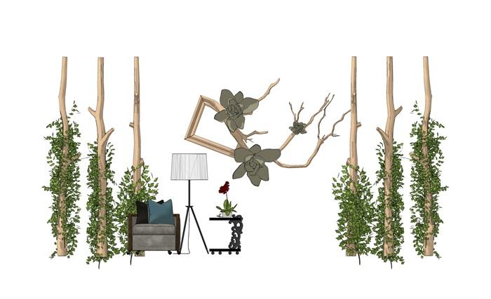 现代休闲木柱藤条沙木头组合1(3)