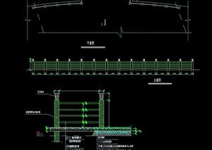 详细的整体围墙栏杆素材cad施工图