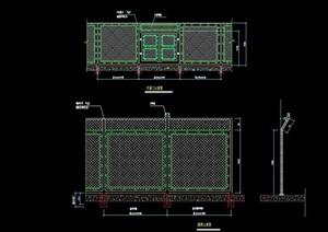 现代详细围墙设计cad立面图