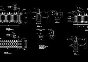 铁艺围栏杆设计cad施工图