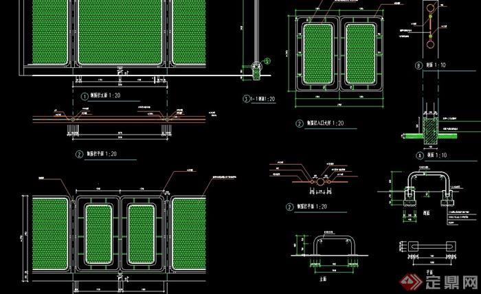 详细的位置围栏v位置cad施工图cad标注复制了变经典图片