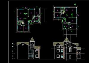 欧式一套别墅建筑cad方案图