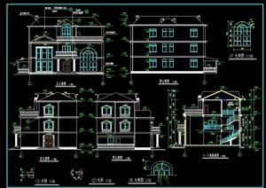 欧式三层别墅的建筑cad施工图