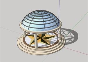园林景观详细的玻璃凉亭素材SU(草图大师)模型
