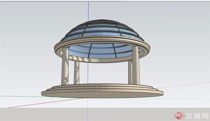 园林景观详细的玻璃凉亭素材su模型