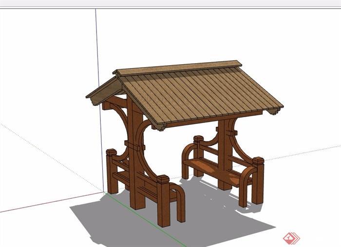 详细的完整亭子素材设计su模型