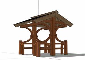 详细的完整亭子素材设计SU(草图大师)模型
