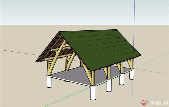 东南亚风格休闲亭子素材设计su模型