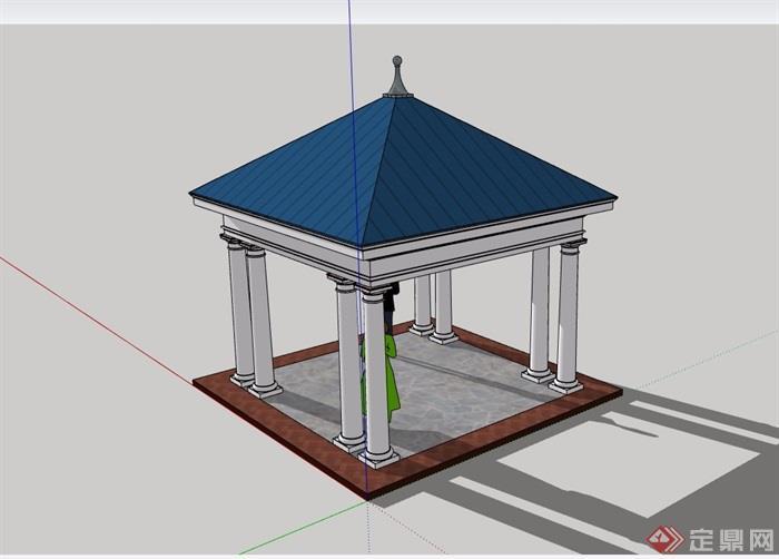 详细的经典美式凉亭素材设计su模型
