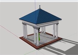 详细的经典美式凉亭素材设计SU(草图大师)模型