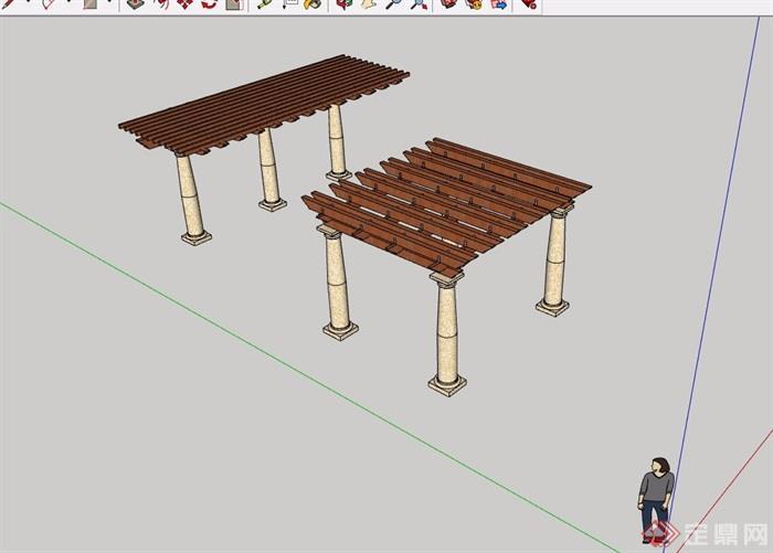 简欧风格两个详细的景观廊架素材su模型