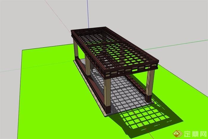 休闲景观庭院廊架素材su模型