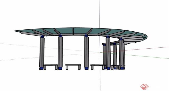 半弧形廊架素材设计su模型