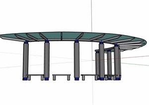 半弧形廊架素材设计SU(草图大师)模型