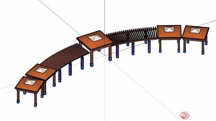 欧式详细的完整亭廊素材设计su模型