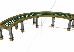 园林景观弧形长廊架SU(草图大师)模型