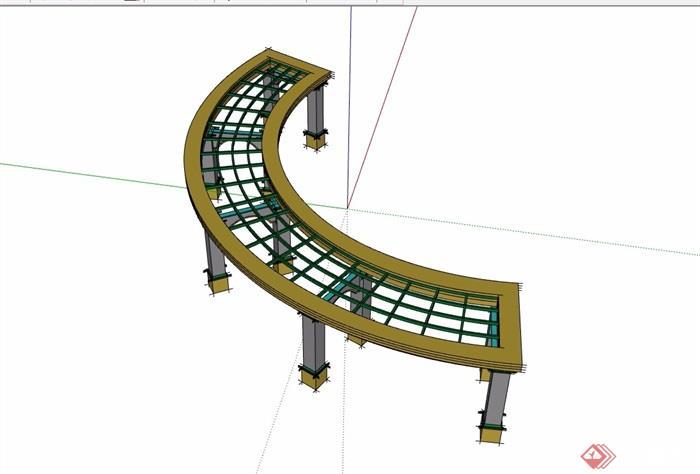 园林景观弧形长廊架su模型