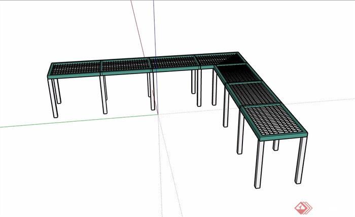 园林景观直角廊架素材su模型