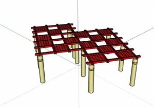 现代景观详细的廊架素材SU(草图大师)模型