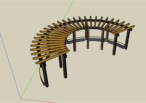 园林景观详细的弧形景观廊架素材SU(草图大师)模型