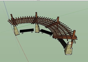 现代园林景观详细完整的廊架素材SU(草图大师)模型