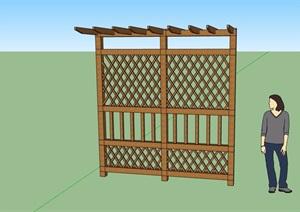 详细完整的全木质廊架素材SU(草图大师)模型