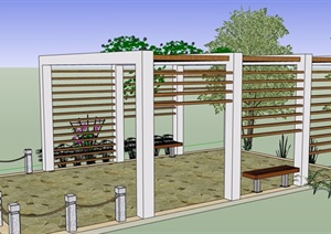 详细的经典园林景观节点廊架素材SU(草图大师)模型