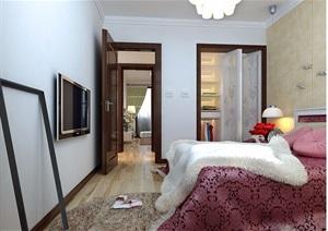 现代详细的住宅卧室空间3d模?#22270;?#25928;果图
