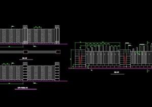 景观围墙栏杆设计cad施工图