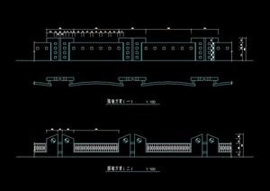 多个详细的完整围墙素材设计cad方案