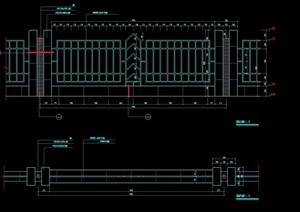 整体完整围墙设计cad施工图