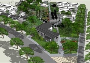 北方村落街角公园与村史馆方案设计SU(草图大师)