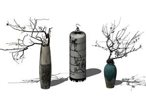 小品植物 枯枝 装饰品组合SU(草图大师)模型
