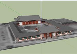 古典中式风格单层居住建筑SU(草图大师)模型