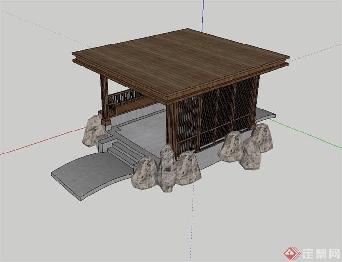 某中式亭子设计su模型(3)