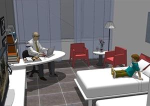 酒店标注客房室内设计SU(草图大师)模型