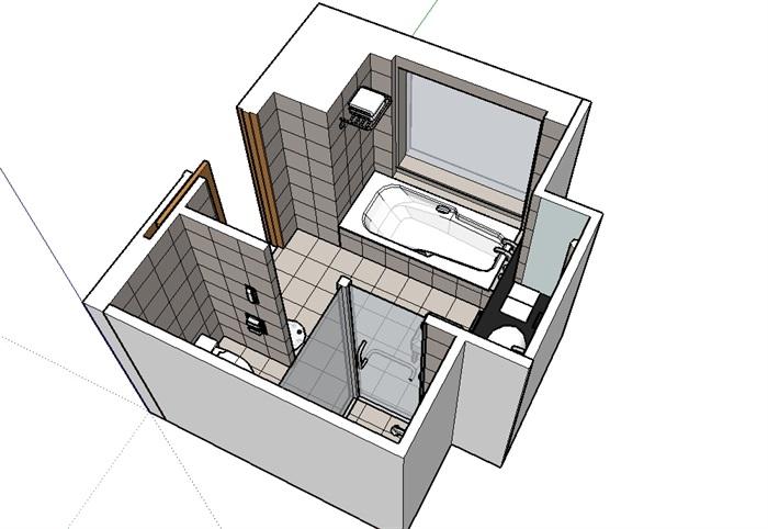 厕所室内浴室设计su模型(2)