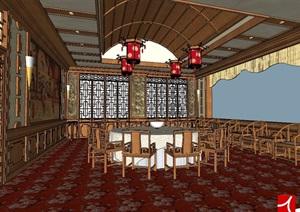 中式餐厅详细空间SU(草图大师)模型